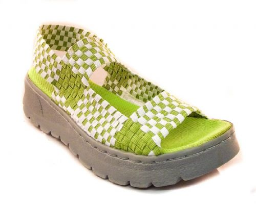 Adesso all elastic upper fun green and white coloured summer sandal